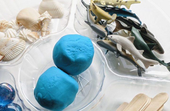 shark play dough sensory tray