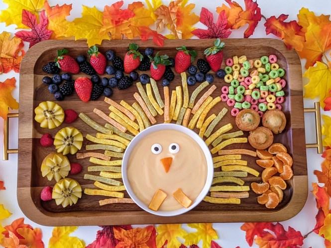 adorable turkey snack board