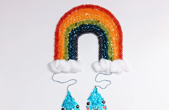 Cardboard rainbow craft for kids