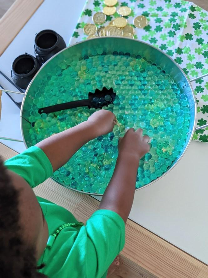 St. Patrick's Day sensory tray