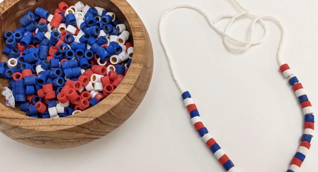 Juneteenth pasta necklace craft