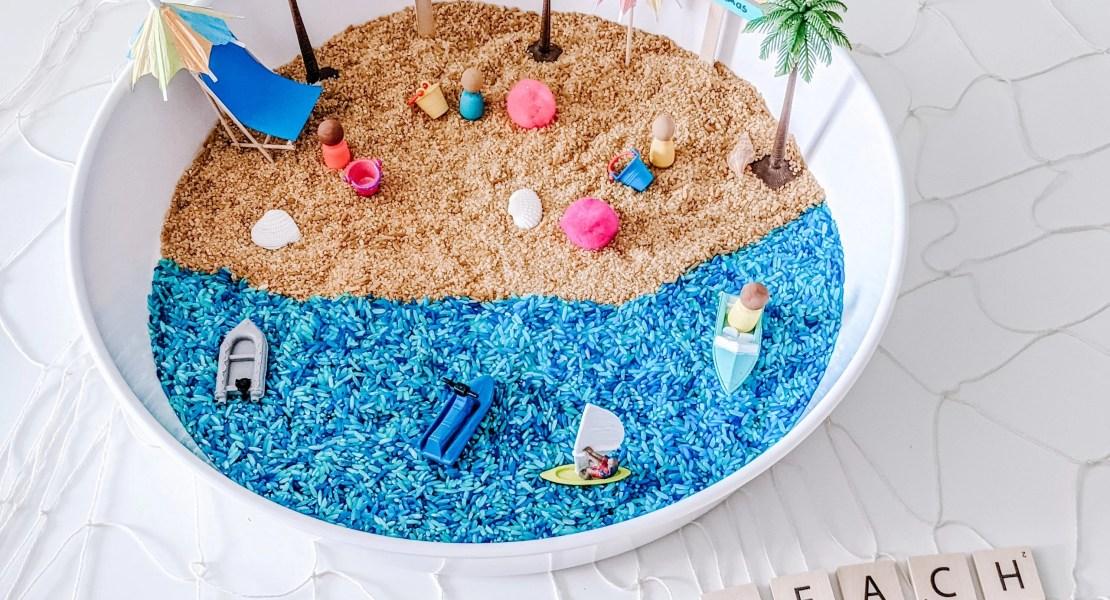 beach day sensory play for kids