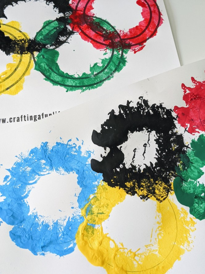 Olympic art project for kids using cotton balls.