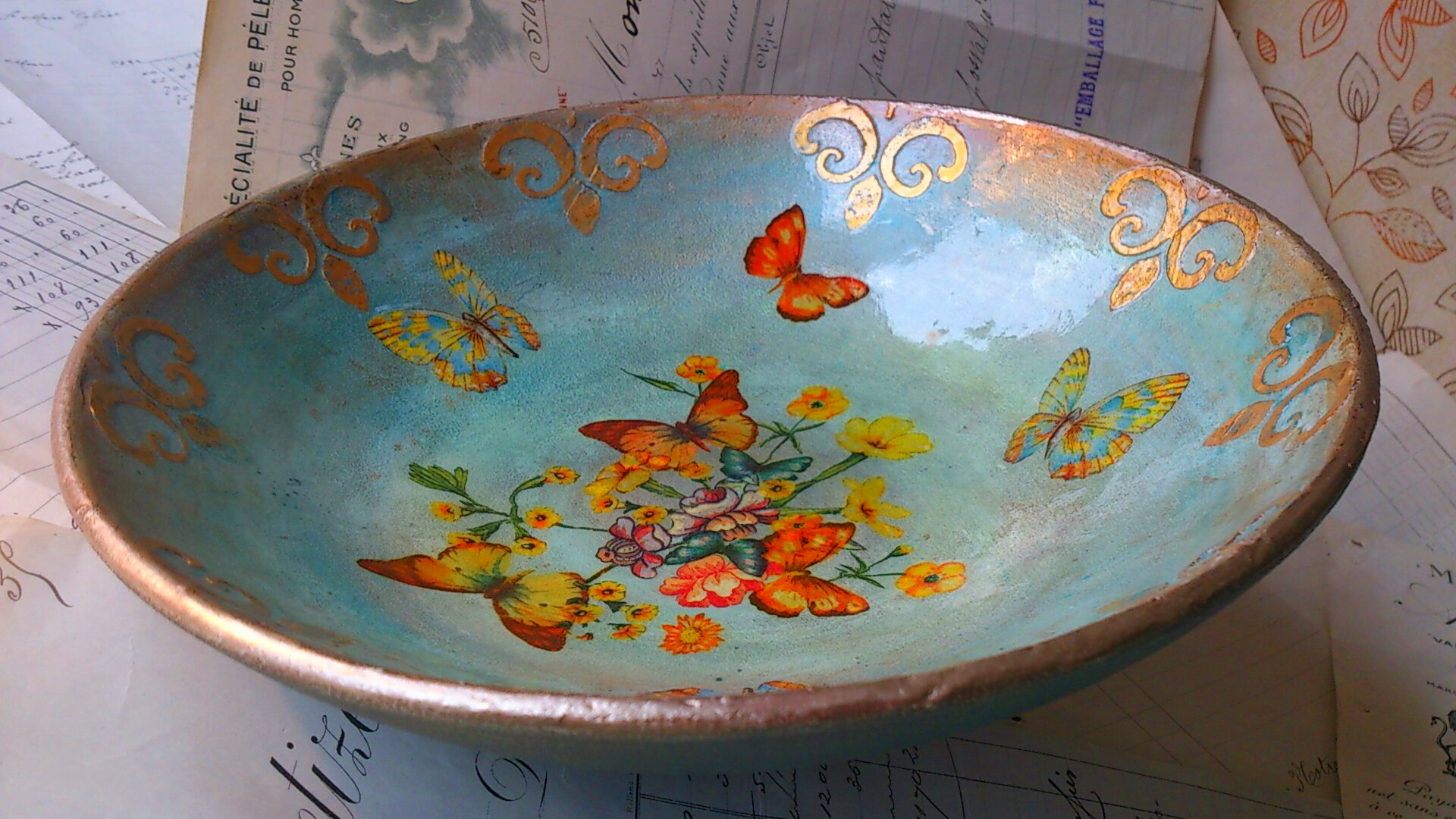 Mica powders decoupage butterfly bowl  craftingbydominique