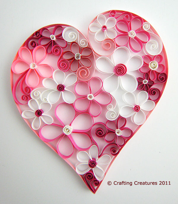 Quilled Heart Full O Flowers Crafting Creatures