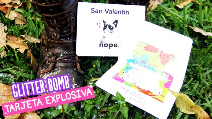 tarjeta glitter explosiva