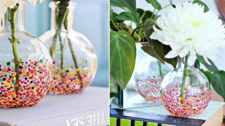 manualidades para regalar florero-confetti