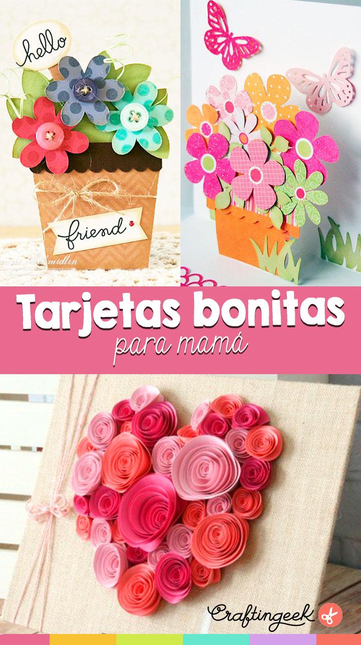 tarjetas con flores faciles para mama