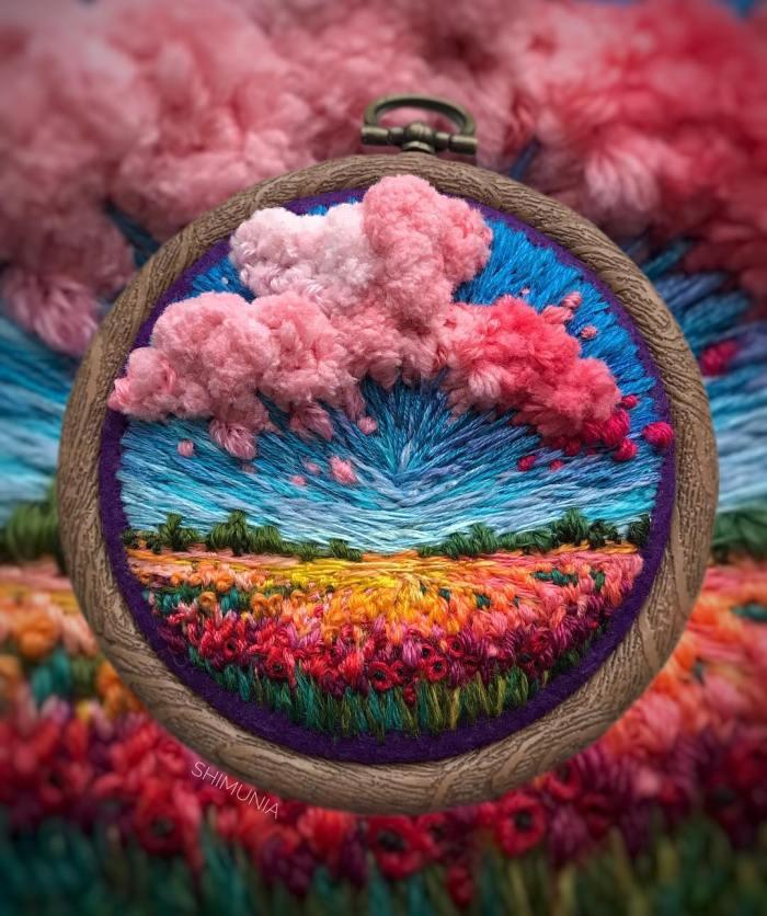 Bellos paisajes de bordado que parecen pinturas hechas con hilo