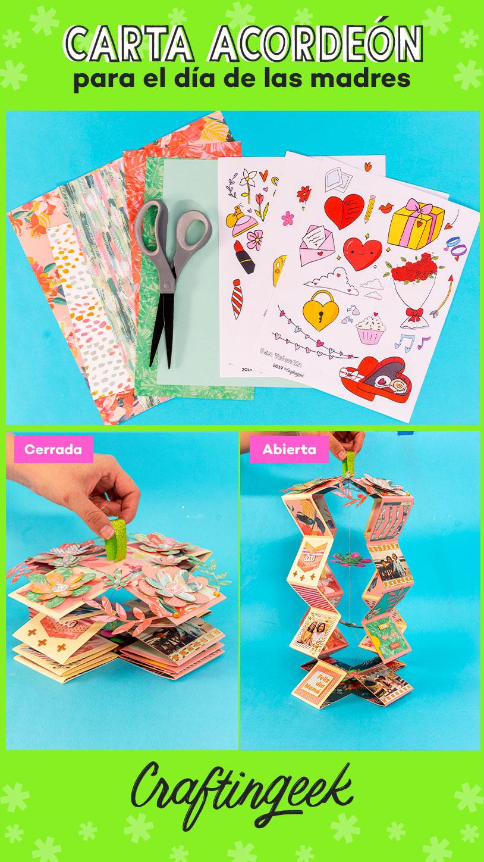 Tarjetas para regalar de scrapbook: Carta acordeon expandible