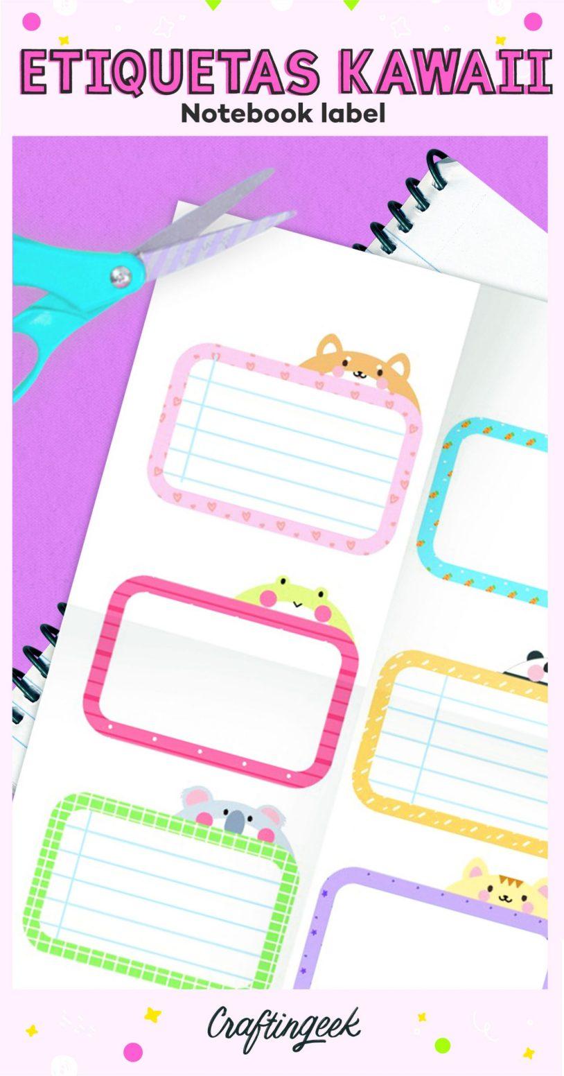 Etiquetas kawaii para cuadernos