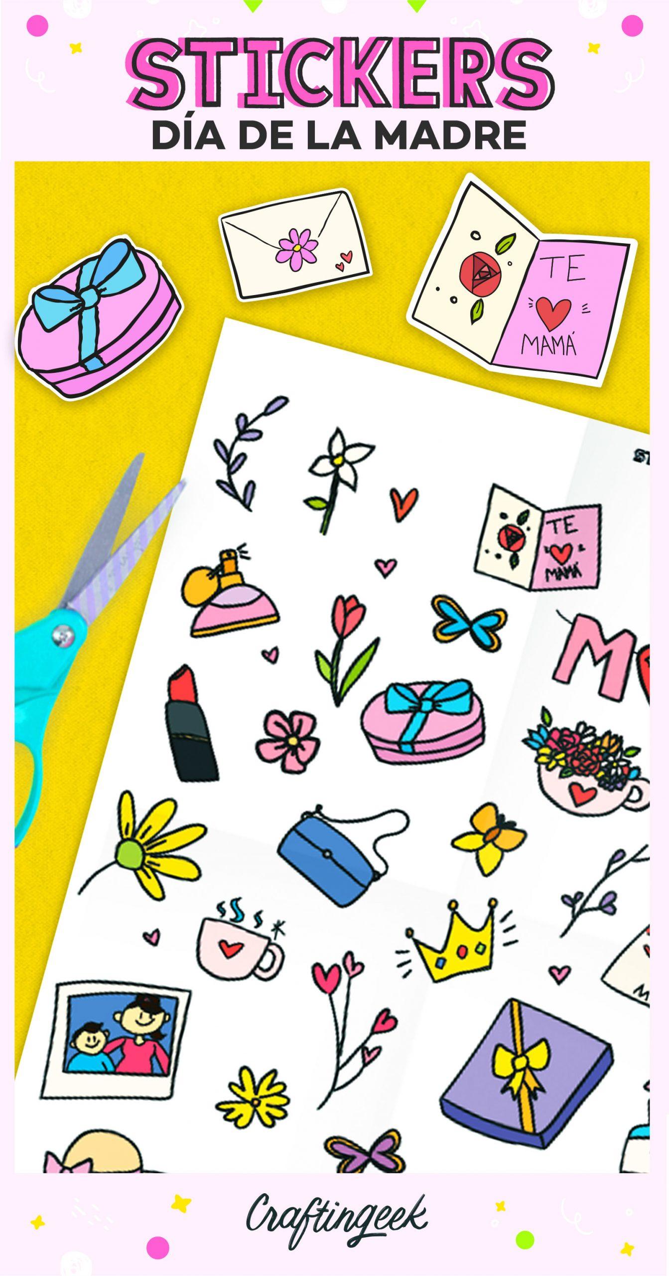 Stickers del día de las madres. Imprime y personalizar tus regalos.