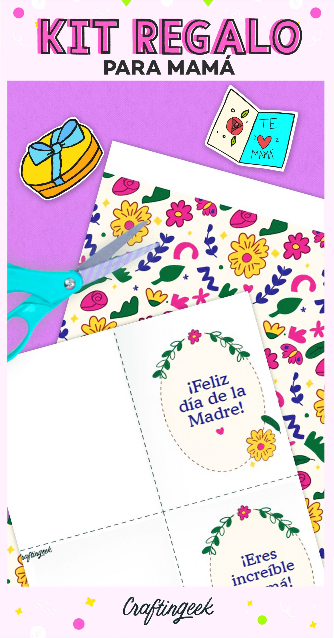 Tarjetas descargables y papel deco para mamá