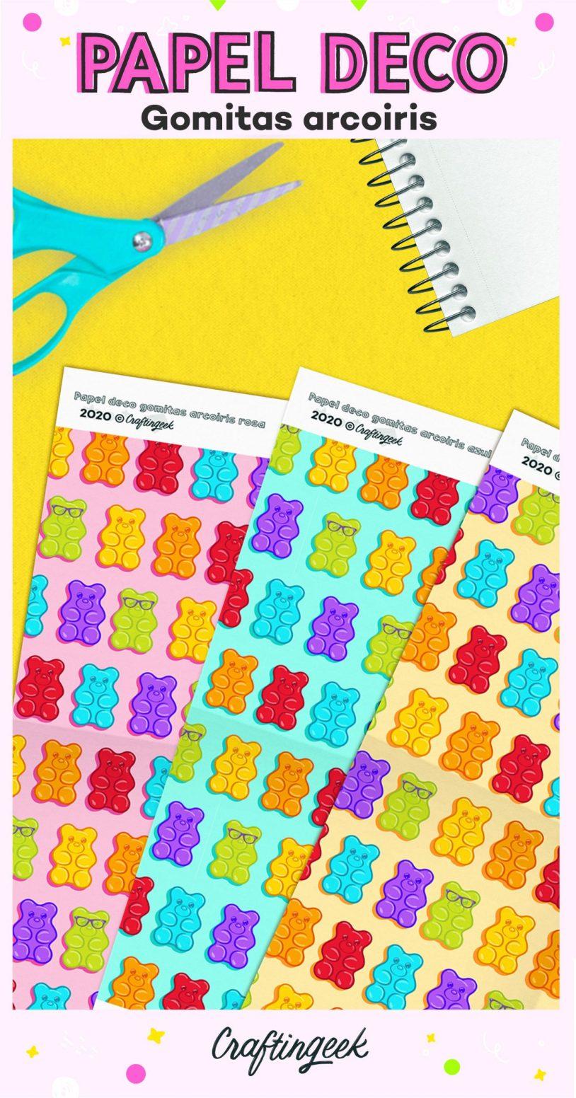 Papel decorado craftingeek de gomitas coloridas