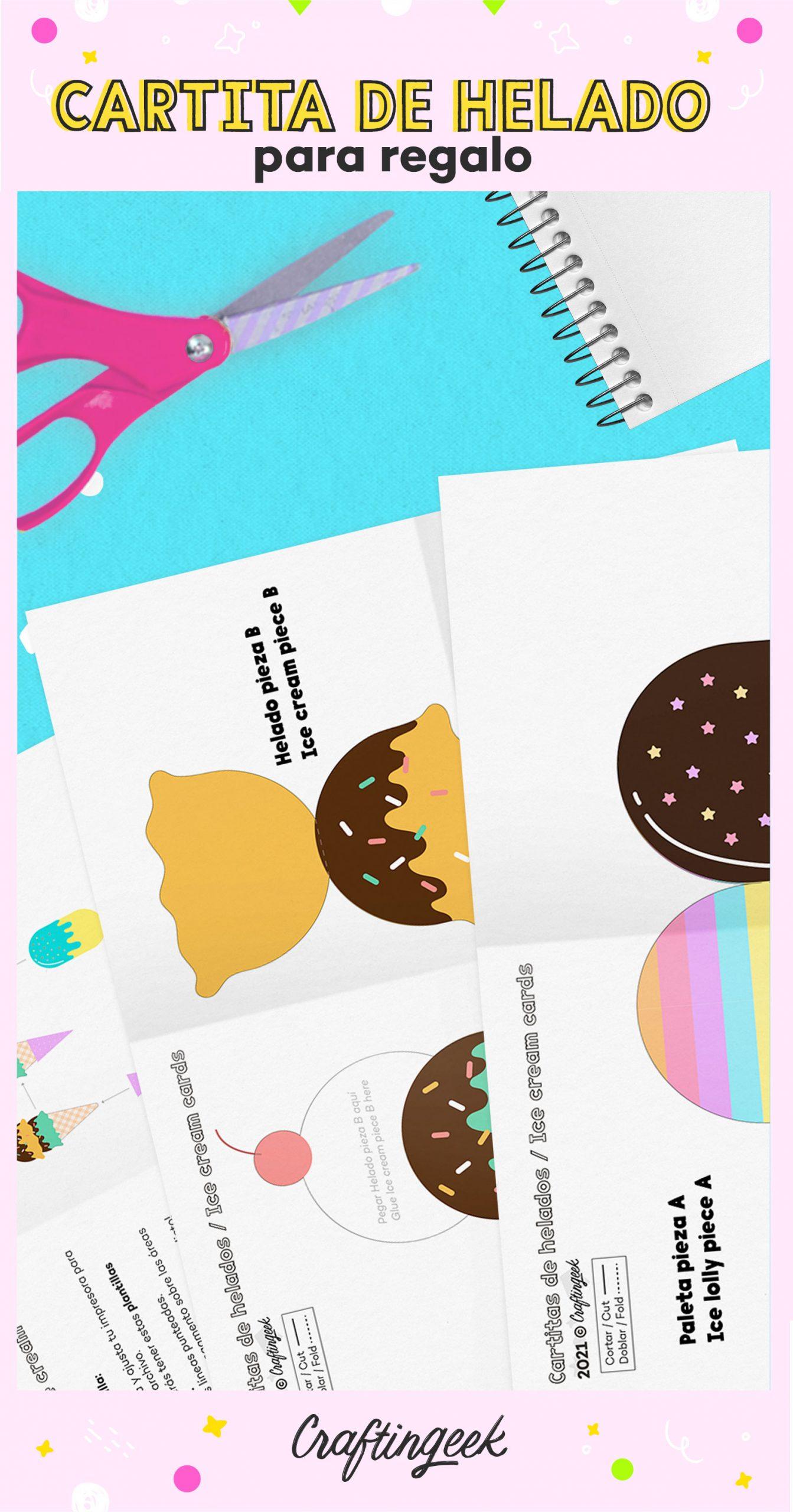 Descarga cartitas de regalo en forma de paleta para darle un toque especial a tu regalo.