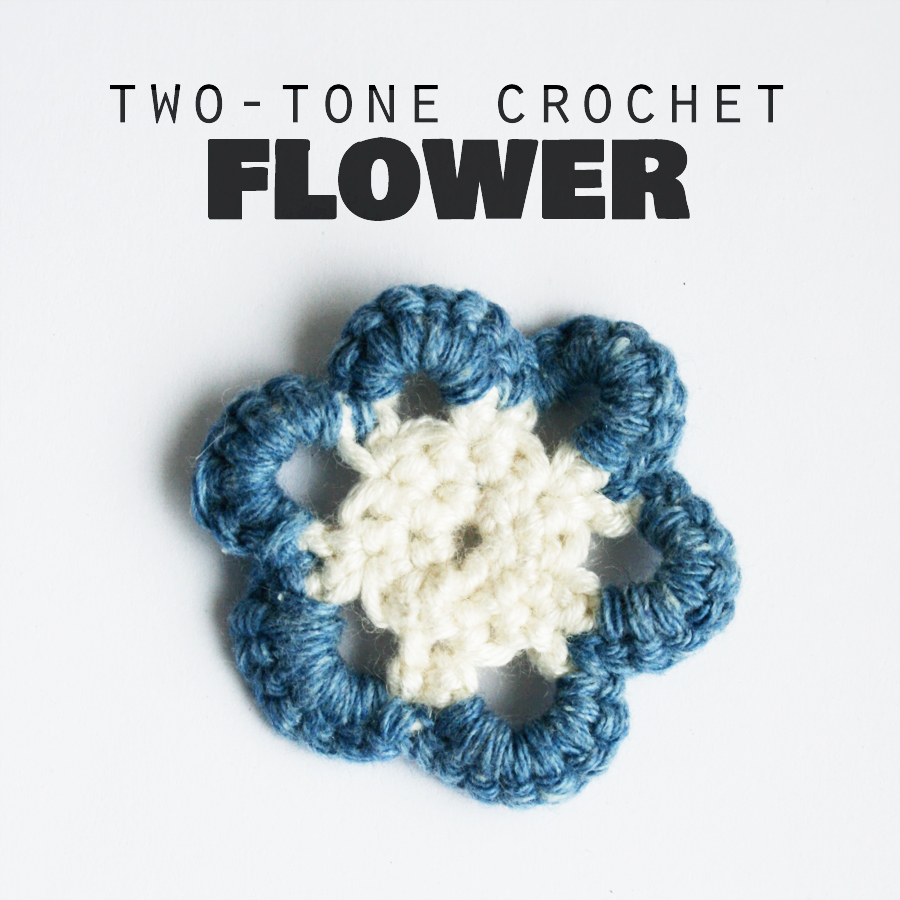 Two-tone crochet flower from yarn scraps (photo tutorial) craftingfingers.co.uk