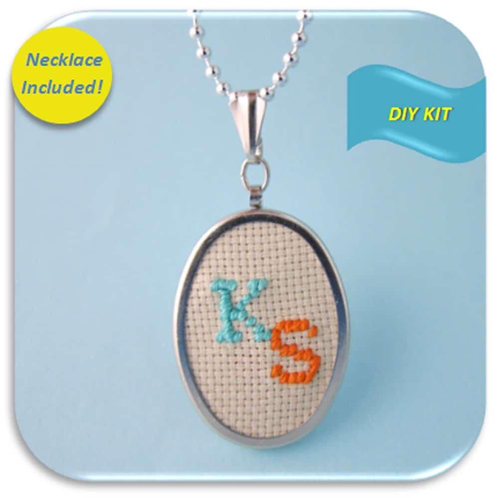 Kailea Easy DIY initial embroidery pendant kit