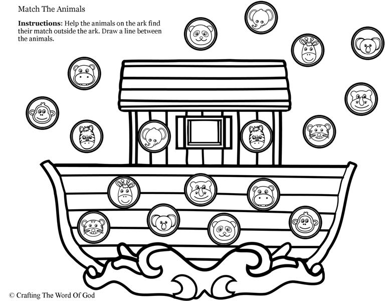 Noahs Ark Animal Match- Activity Sheet « Crafting The Word