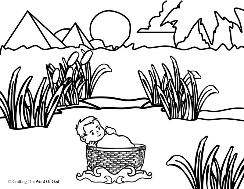 Moses In The Basket- Coloring Page « Crafting The Word Of God