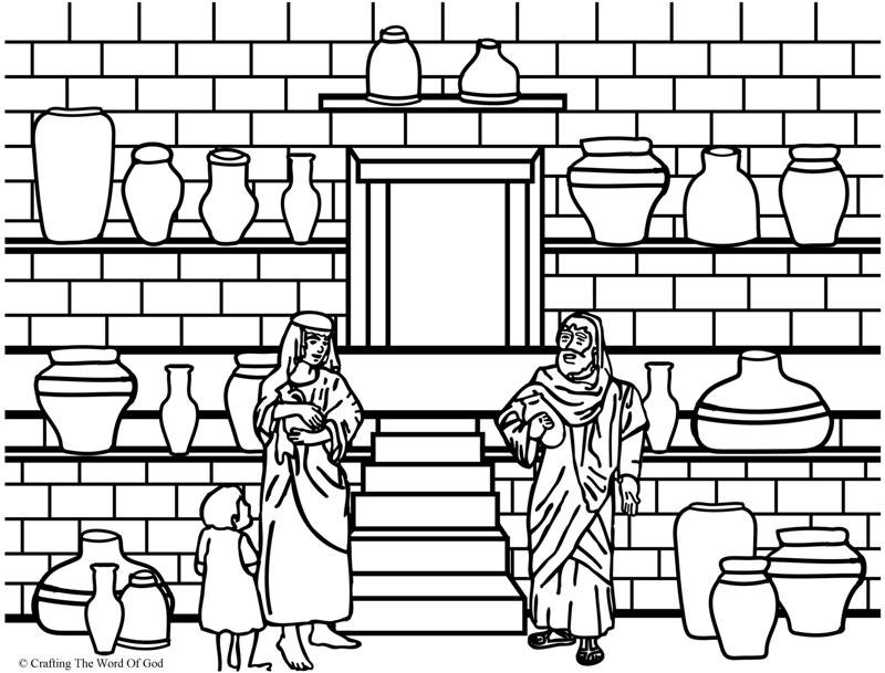 Elisha And The Jar Of Oil- Coloring Page « Crafting The