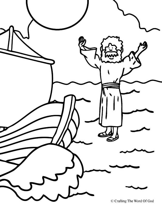 Jesus Walks On Water- Coloring Page « Crafting The Word Of God