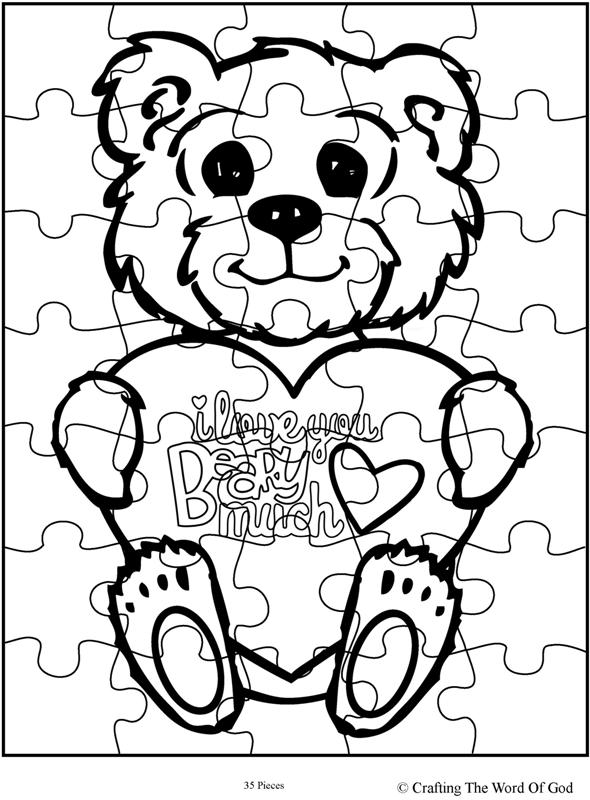I Love You Beary Much Puzzle- Activity Sheet « Crafting