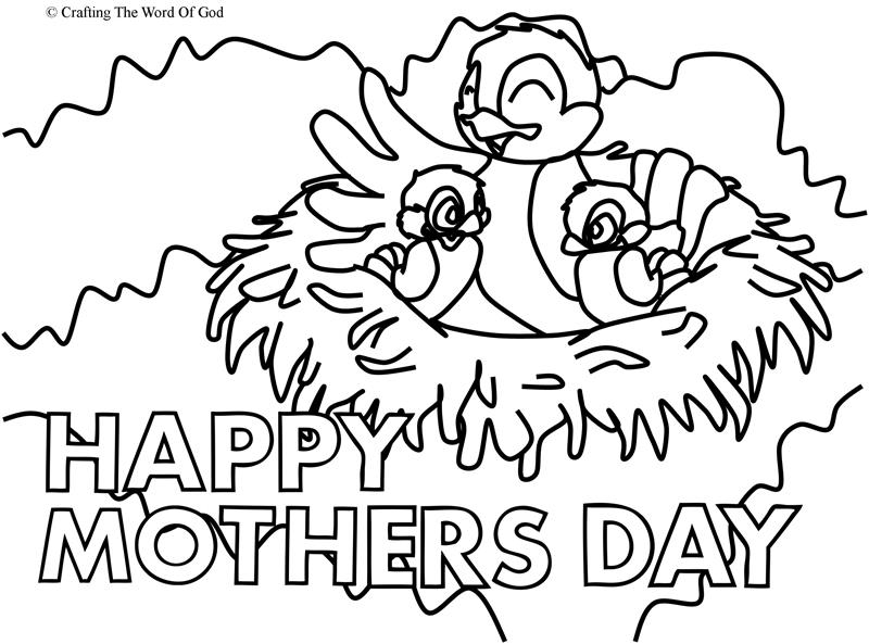Mothers Day Mama Bird- Coloring Page « Crafting The Word
