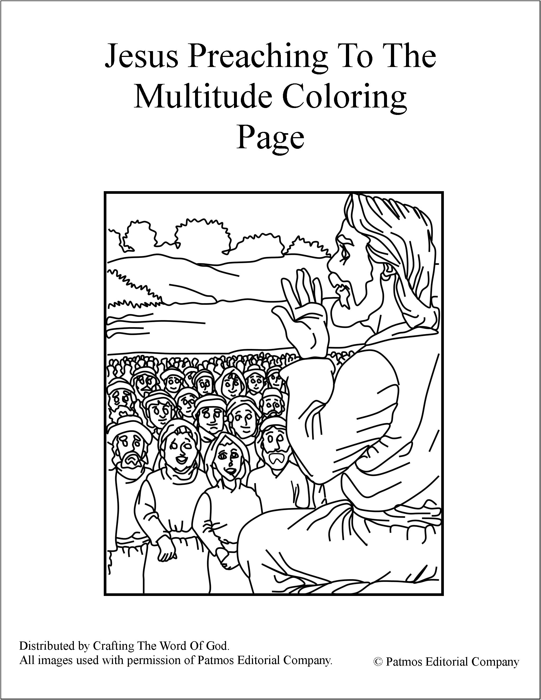 Jesus Preaching To The Multitude- Coloring Page « Crafting