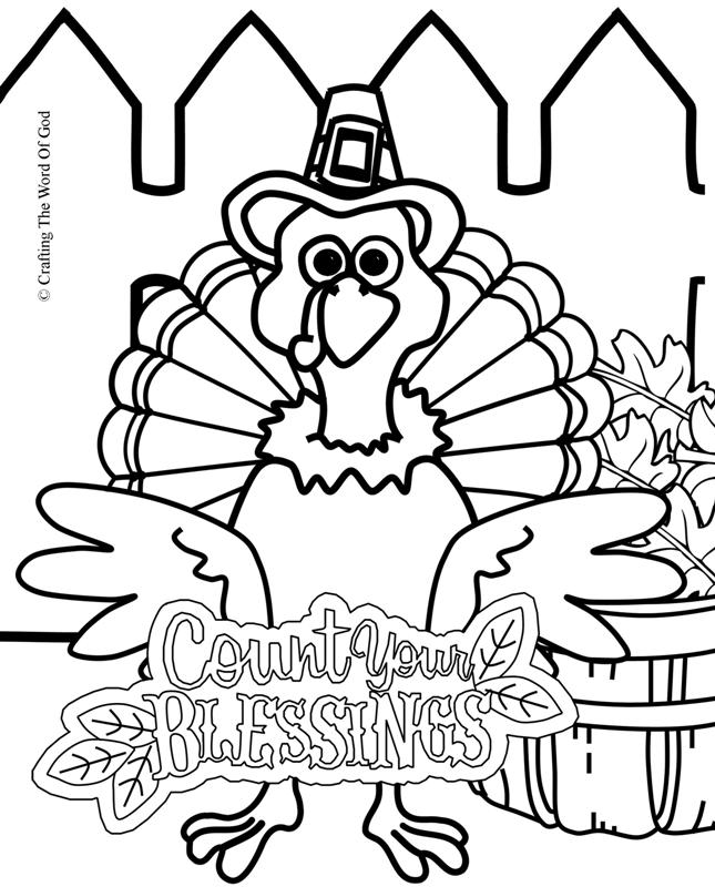 Count Your Blessings Turkey- Coloring Page « Crafting The
