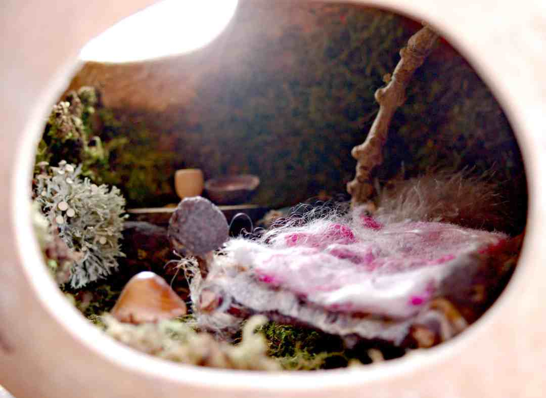 We know that fairies love delicate, natural things, so we have made a beautiful, miniature home for one in a kettle gourd.