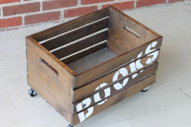 Wooden Books Storage Crate