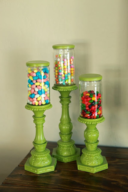green apothecary candy jars