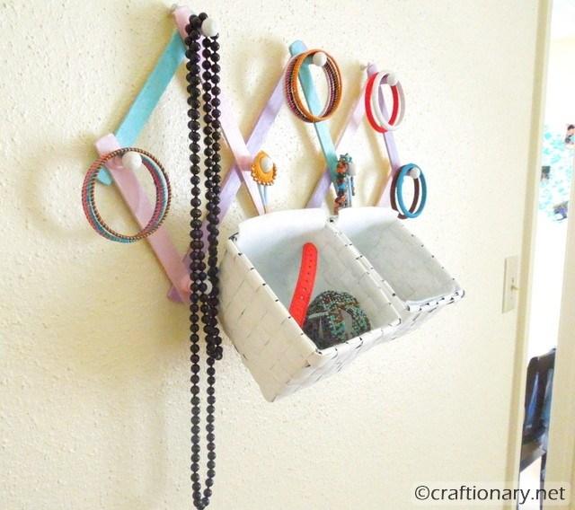 DIY hanging jewelry organizer