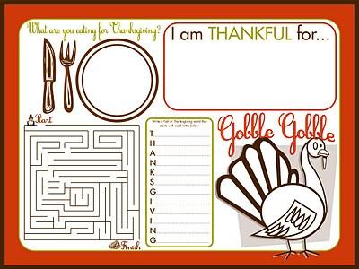 thanksgiving kids activity place mat