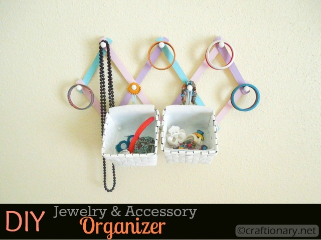 DIY hanging organizer for jewelry
