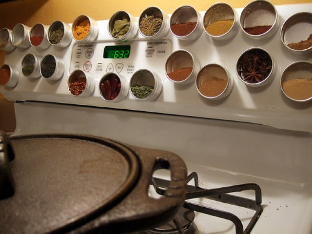 wall mounted spice rack with door