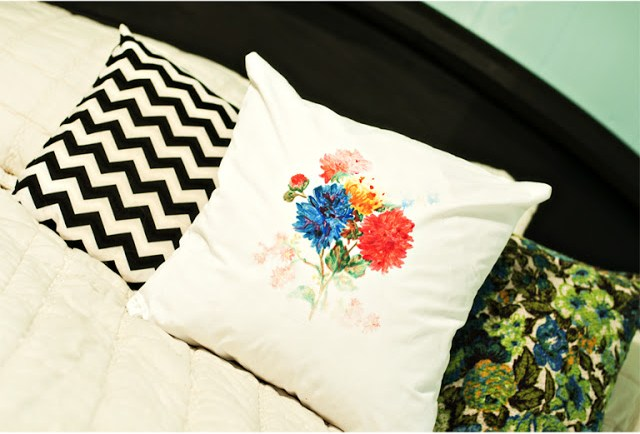 DIY floral anthropologie pillow