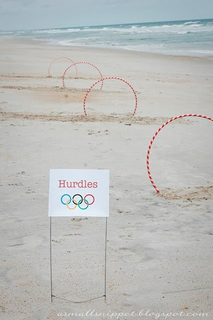 Kids Hurdle Olympics Party on the beach