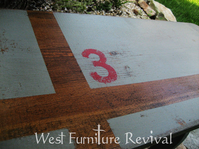 stripes stencil distressed revamp