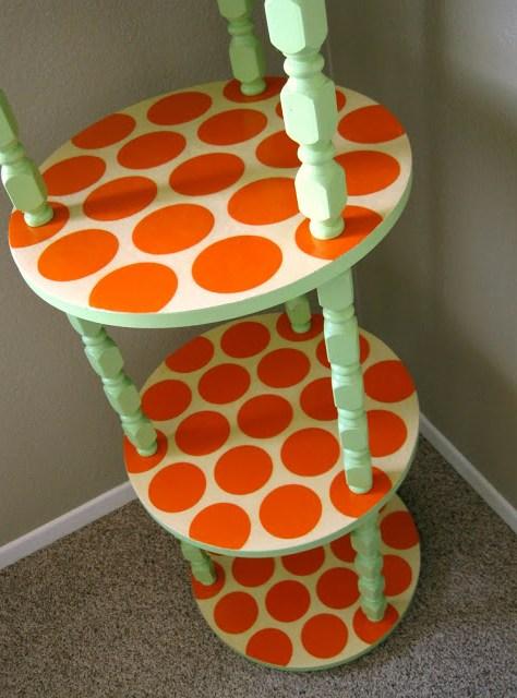 painted-furniture-orange-dots-green-paint