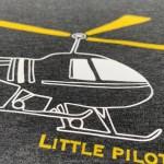 Set tricouri, gri închis, elicopter / copil-adult