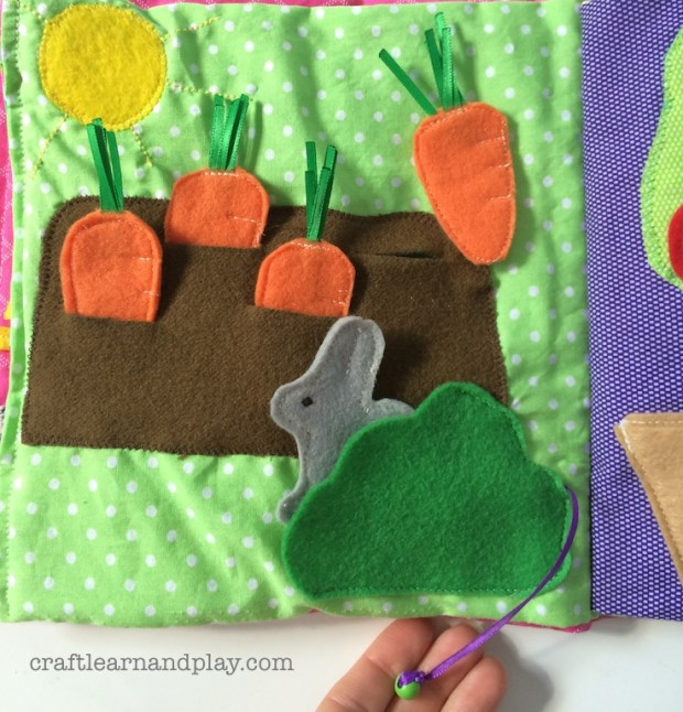 garden carrots and bunny on string activity book page