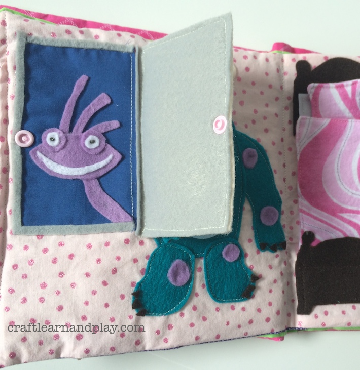 Monsters inc themed quiet book craft learn and play for The idea door quiet book