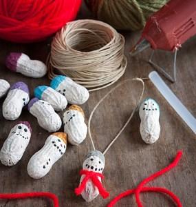 Peanut snowman ornaments