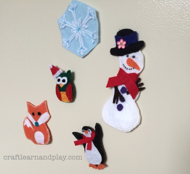 diy winter magnets for toddler