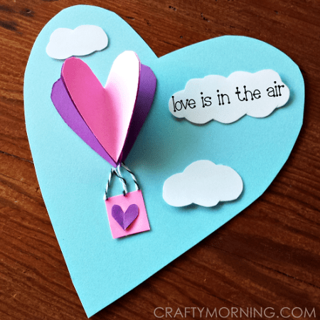 3D Heart Hot Air Balloon Valentine Card