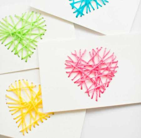 yarn-string-heart-card-kids valentines craft