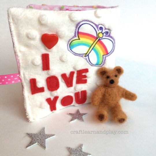 I love You Soft Book Cover with needle felted bear