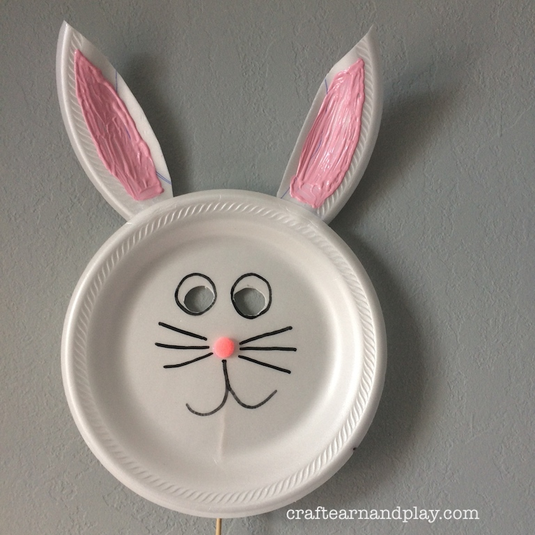 paper plate bunny mask craft project