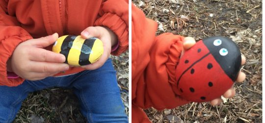 Ladybug painted rock that made fun rock crafts for kids
